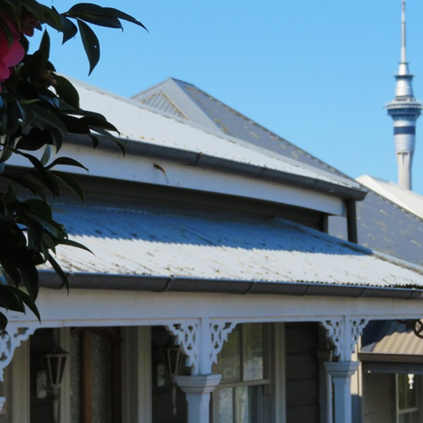 House in central Auckland, Sky Tower in background