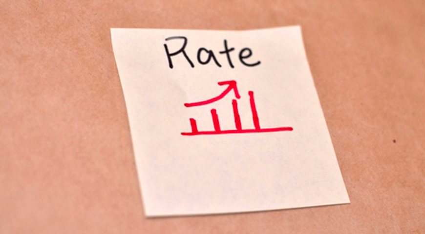 Drawing of a graph showing rates going up