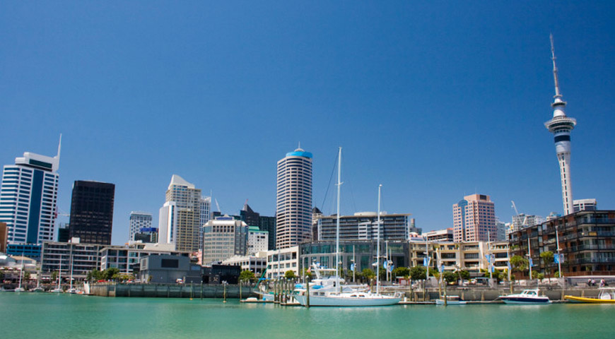 Looking at the Auckland city scape over the harbour