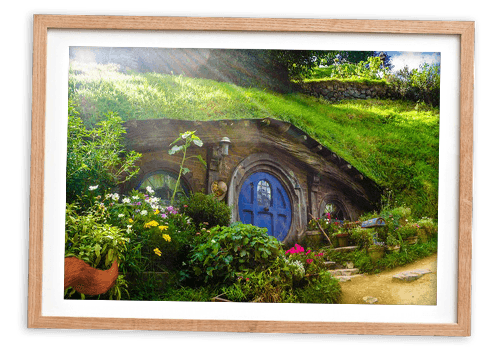 Hobbit style house with blue door