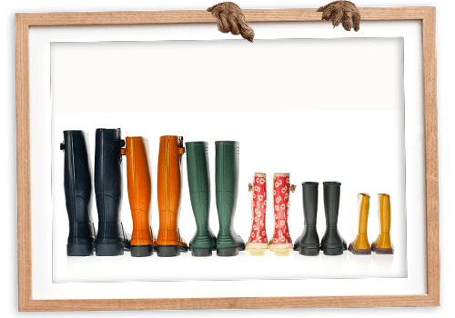 Row of colourful gumboots