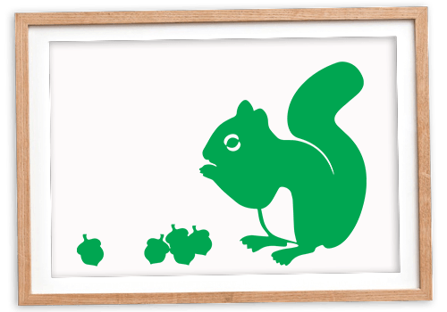 Green squirrel in picture frame