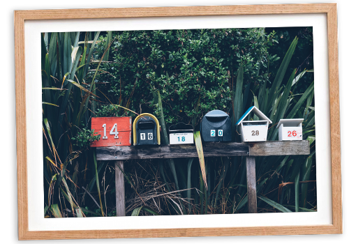 Row of letterboxes