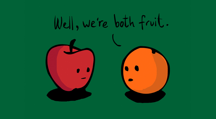 Confused fruit talking to each other