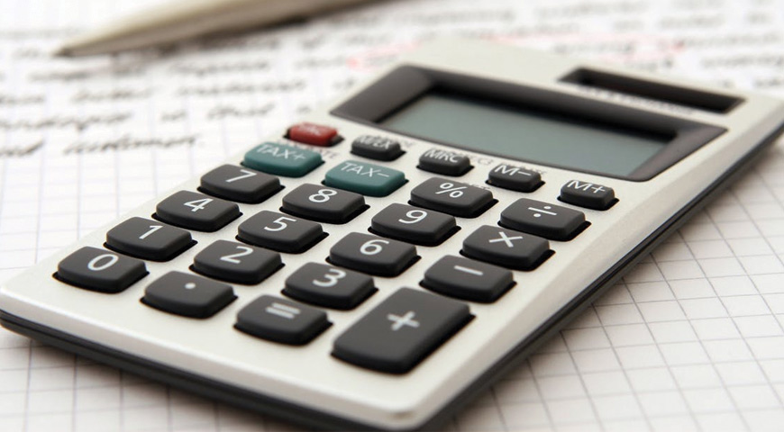 Calculator, working out tax