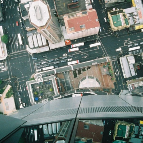 Looking down at Auckland central