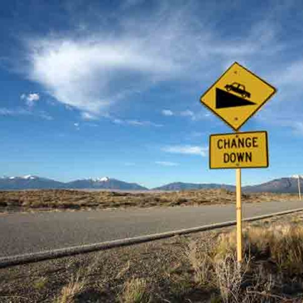 Road sign - change down