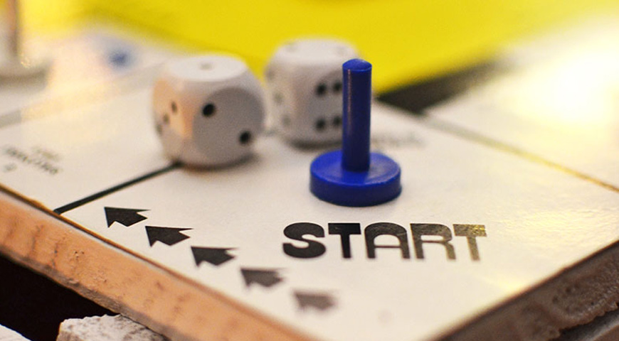Closeup of board game, start