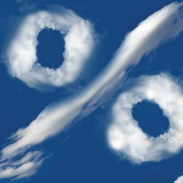 Percentage symbol made of clouds