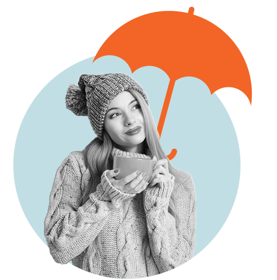 Squirrel insurance, woman holding cup of tea with umbrella