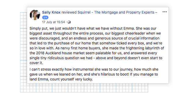 Facebook review from happy Squirrel Mortgage client