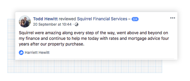 5 star Facebook review from a Squirrel customer