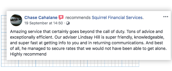 Facebook recommendation for Squirrel Financial Services