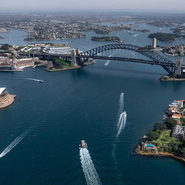 Landscape of Sydney harbour from the sky