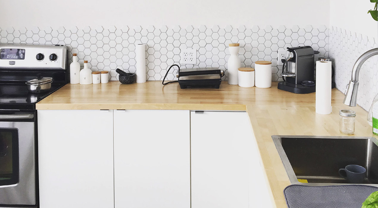 Close up of modern, new kitchen benchtop with tiles