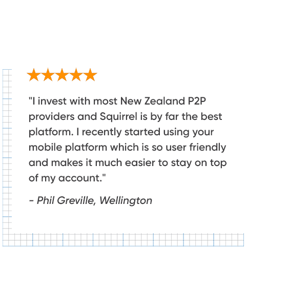 5 star review from investor about Squirrel's P2P investor platform