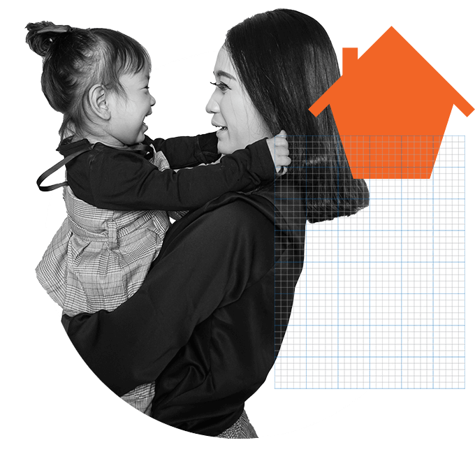 Asian woman and child hugging