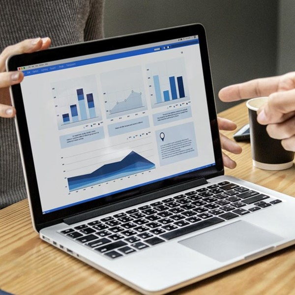 Two peoples' hands pointing to laptop screen with graph